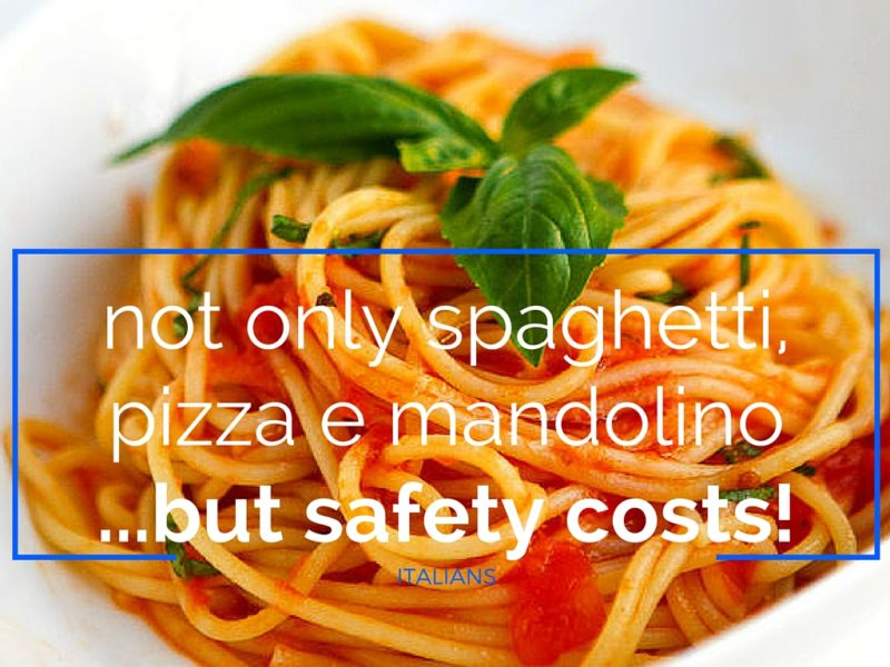 Spaghetti, pizza e mandolino e safety costs